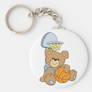 Cute Basketball Bear Basic Round Button Key Ring