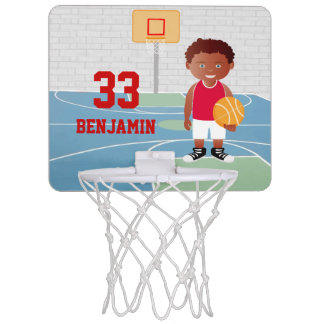 Cute Basketball Player 2 Red | White Mini Basketball Hoop