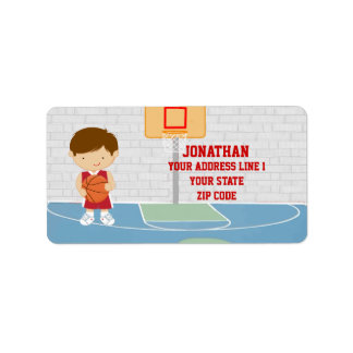 Cute basketball player red basketball jersey address label