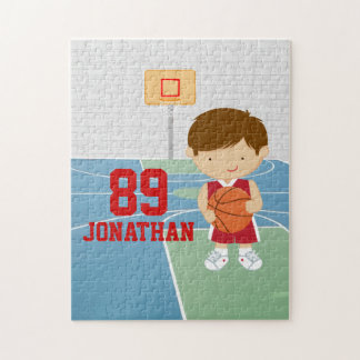 Cute basketball player red basketball jersey jigsaw puzzle