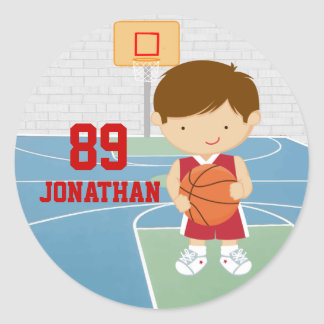 Cute basketball player red basketball jersey round sticker