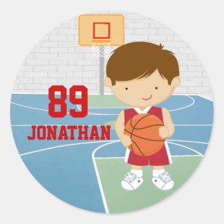 Cute basketball player red basketball jersey round sticker