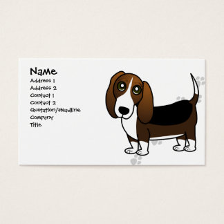 Cute Basset Hound Cartoon - Brown White and Black Business Card