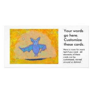 Cute bat art for folks who love bats fun colorful custom photo card