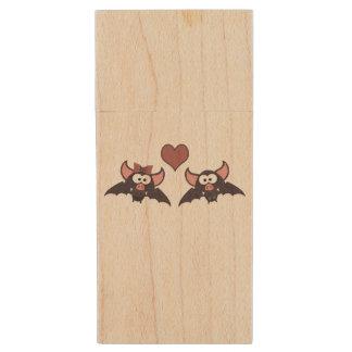 Cute Bat Love Desgin Wood USB 2.0 Flash Drive