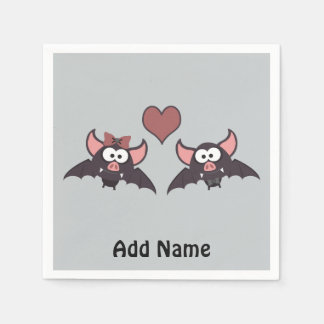 Cute Bat Love Desgin Paper Napkins