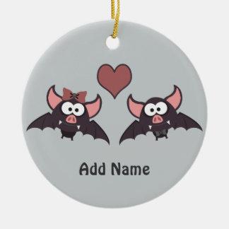 Cute Bat Love Desgin Round Ceramic Decoration