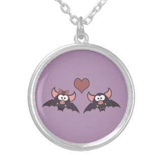 Cute Bat Love Desgin Round Pendant Necklace