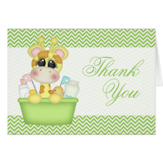 Cute Bathtime Giraffe Thank You Card
