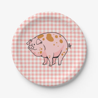 Cute BBQ Pig Cookout Rose Pink Gingham Check Plaid Paper Plate
