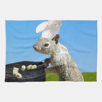Cute BBQing Squirrel Tea Towel