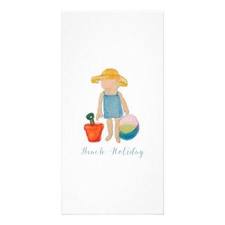 Cute Beach Girl on Summer Holiday Customised Photo Card