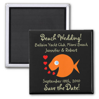 Cute Beach Themed Wedding Save The Date Magnet