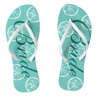 Cute beach wedding flip flops for bride and groom