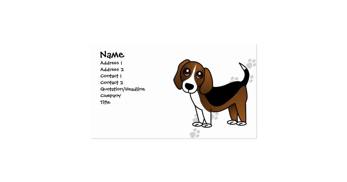 Cute Beagle Cartoon Dog Pack Of Standard Business Cards