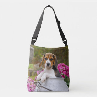 Cute Beagle Dog Puppy in a Milk Churn Photo on Crossbody Bag