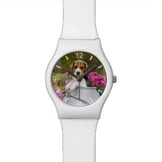 Cute Beagle Dog Puppy Milk Churn women  dial-plate Watch