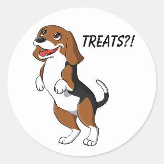 Cute Beagle Dog Puppy Treats Yum Dinner Time Love Round Sticker