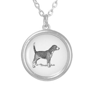 Cute Beagle Elegant Dog Drawing Silver Plated Necklace