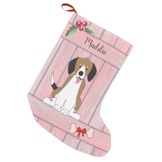 Cute Beagle Girl Dog Pink Wooden Fence Monogram Small Christmas Stocking