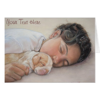 Cute beagle puppy and child realist art card