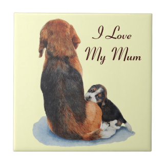 cute beagle puppy and mum dog art tile