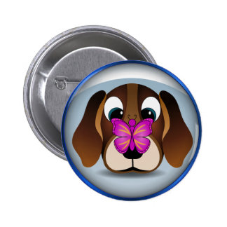 Cute Beagle Puppy Dog and Butterfly Round Buttons