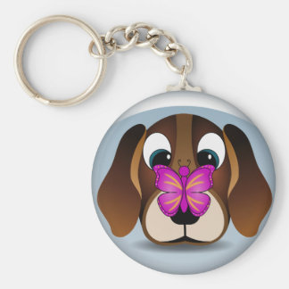 Cute Beagle Puppy Dog and Butterfly Round Keychain