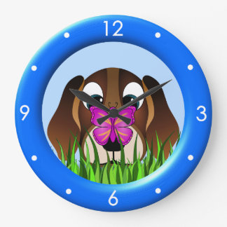Cute Beagle Puppy Dog Butterfly Large Round Clock