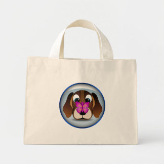 Cute Beagle Puppy Dog Butterfly Tiny Tote Bags