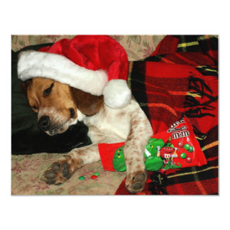 Cute Beagle Puppy Snoopy Wearing Santa Hat Card