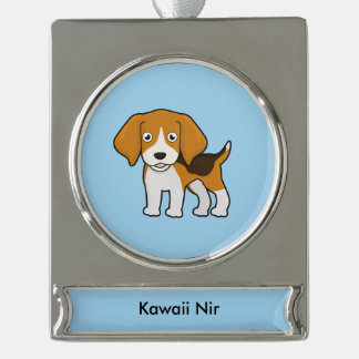 Cute Beagle Silver Plated Banner Ornament