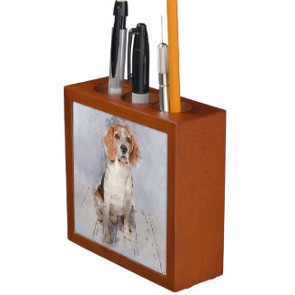 Cute Beagle Watercolor Portrait Desk Organiser