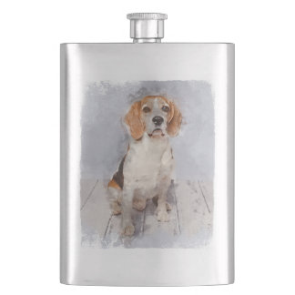 Cute Beagle Watercolor Portrait Hip Flask