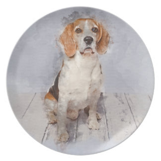 Cute Beagle Watercolor Portrait Plate