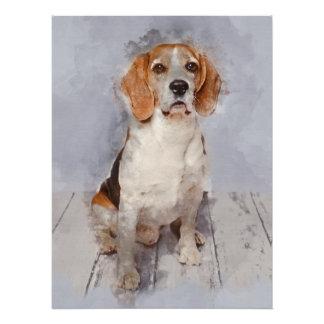 Cute Beagle Watercolor Portrait Poster