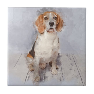 Cute Beagle Watercolor Portrait Tile