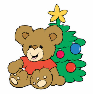 Cute Bear and Christmas Tree Standing Photo Sculpture