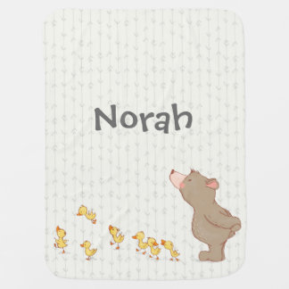 Cute Bear and Duck Baby Name Neutral Blanket