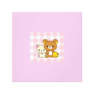 Cute Bear and Duck Canvas Gallery Wrapped Canvas