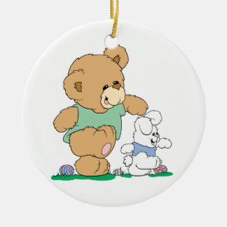 Cute Bear and Easter Bunny Ceramic Ornament