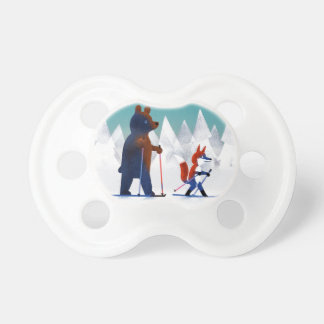Cute Bear and Fox skiing under stars in a forest Baby Pacifier