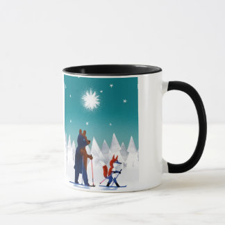 Cute Bear and Fox skiing under stars in a forest Mug
