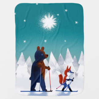 Cute Bear and Fox skiing under stars in a forest Pramblanket