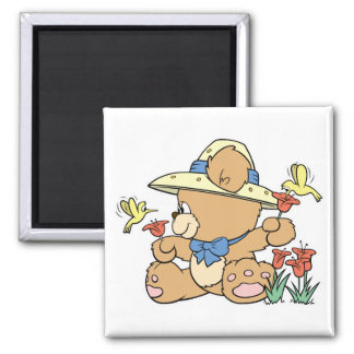 Cute Bear and Hummingbirds Refrigerator Magnet