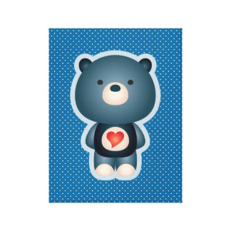 Cute Bear Blue Stretched Canvas Print