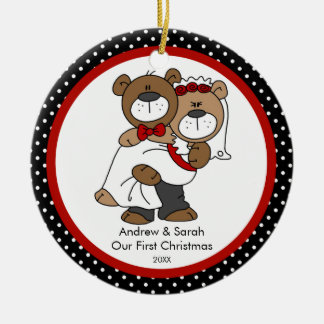 Cute Bear Couple Our First Christmas Ornament