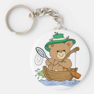 Cute Bear Fishing in Boat Basic Round Button Key Ring