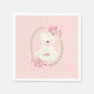 Cute Bear Floral Wreath and Hearts Disposable Serviettes