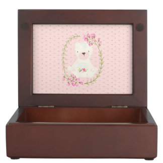 Cute Bear Floral Wreath and Hearts Keepsake Box